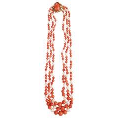David Webb Coral Pearl Bead Necklace