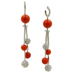 Coral and Diamond 18 Karat White Gold Dangle Earrings