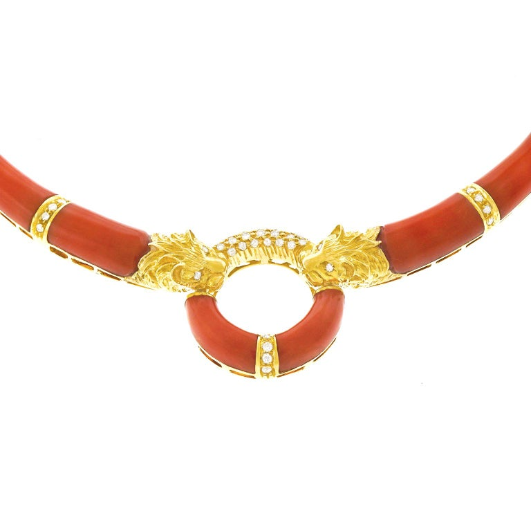 Coral and Diamond 1970s Gold Necklace For Sale 1