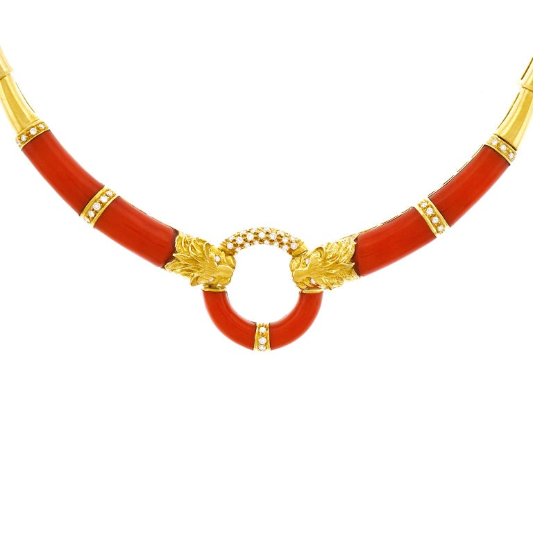 Coral and Diamond 1970s Gold Necklace For Sale 5
