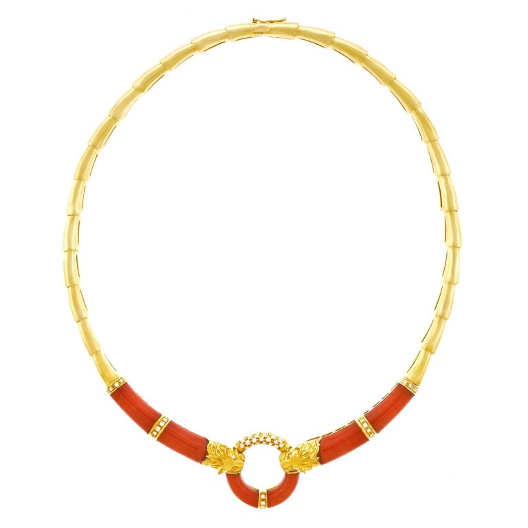 Coral and Diamond 1970s Gold Necklace For Sale