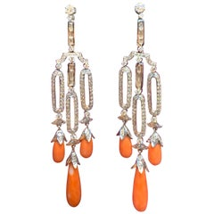 Coral and Diamond Chandelier Earrings