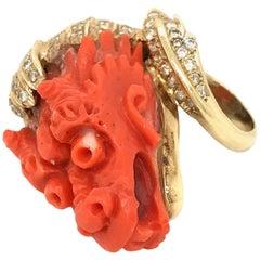 Coral and Diamond Dragon Head Ladies Ring in 18 Karat Yellow Gold