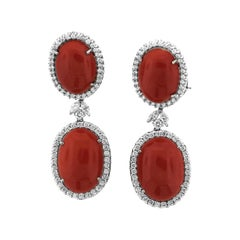 Coral and Diamond Drop Earrings with White Gold
