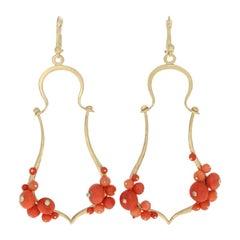 Coral and Diamond Earrings, 18 Karat Yellow Gold Pierced Dangles