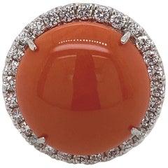 Coral and Diamond Halo Ring 18 Karat White Gold