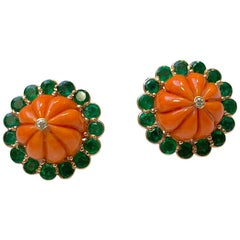 Coral and Emerald Diamond Earrings Set in Rose Gold