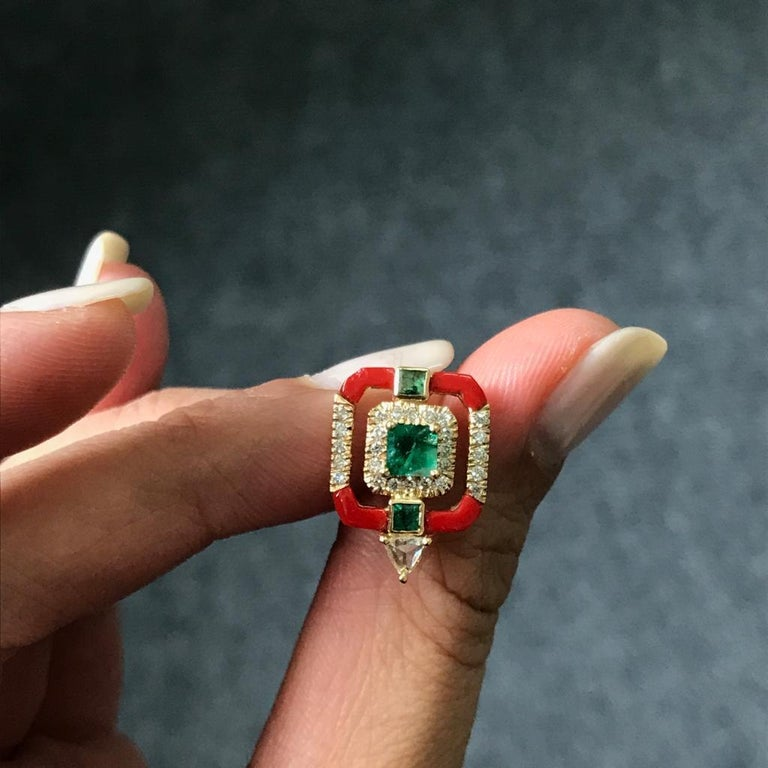 Art Deco Coral and Emerald Studs in 18 Karat Yellow Gold For Sale