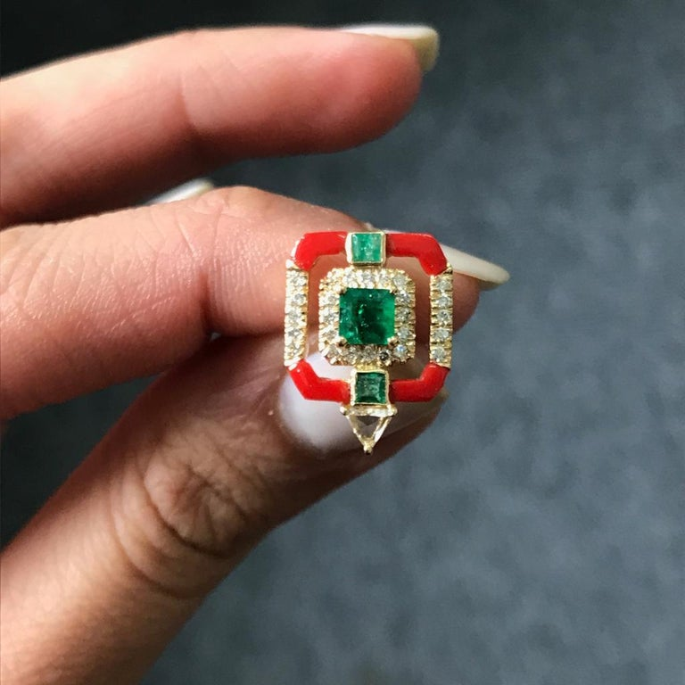 Emerald Cut Coral and Emerald Studs in 18 Karat Yellow Gold For Sale