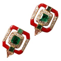 Coral and Emerald Studs in 18 Karat Yellow Gold