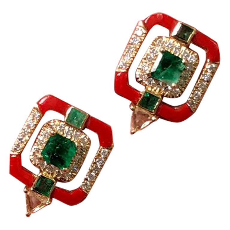 Coral and Emerald Studs in 18 Karat Yellow Gold For Sale