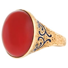 Coral and Enamel Gold Ring