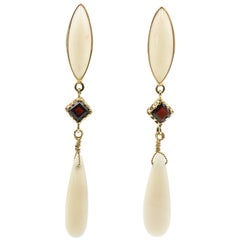 Coral and Garnet Dangling Gold Earrings