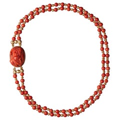 Coral and Gold Cameo Necklace