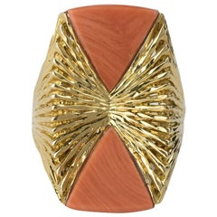 Coral and Gold Ring by Kutchinsky