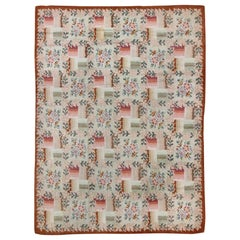 Coral and Green Antique American Hooked Rug with Checkered Bouquet Pattern