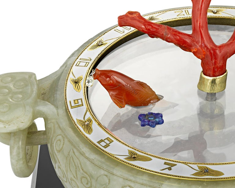 Art Deco Coral and Jade Koi Fish Mystery Clock For Sale