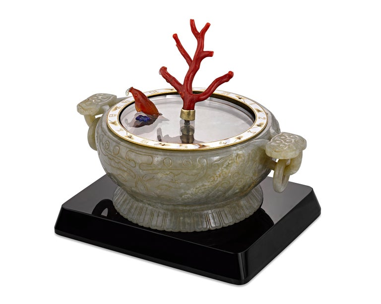 French Coral and Jade Koi Fish Mystery Clock For Sale