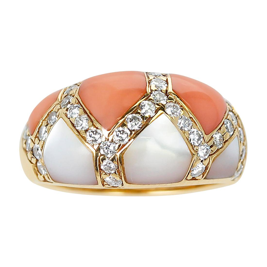 Coral and Mother of Pearl Ring with Diamonds, 18K Yellow Gold