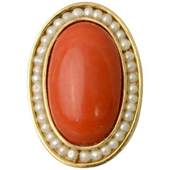 Coral and Natural Pearls Ring
