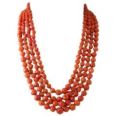 Coral and Orange Zircon Pearls Bakelite Clasp