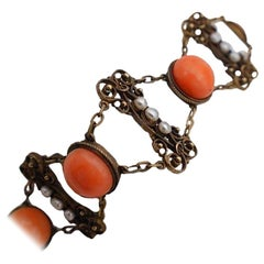 Coral and Pearl Bracelet circa 1920s Yellow Gold Victorian
