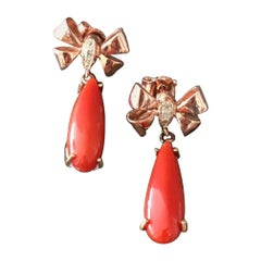 Coral and Rose Gold Bow Earrings