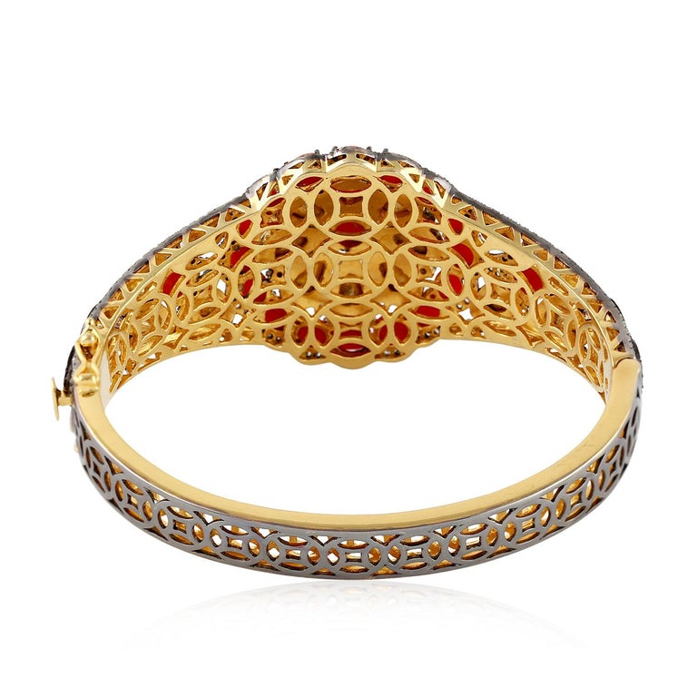 Coral and Rosecut Diamond Bangle in Silver and Gold In New Condition For Sale In New York, NY