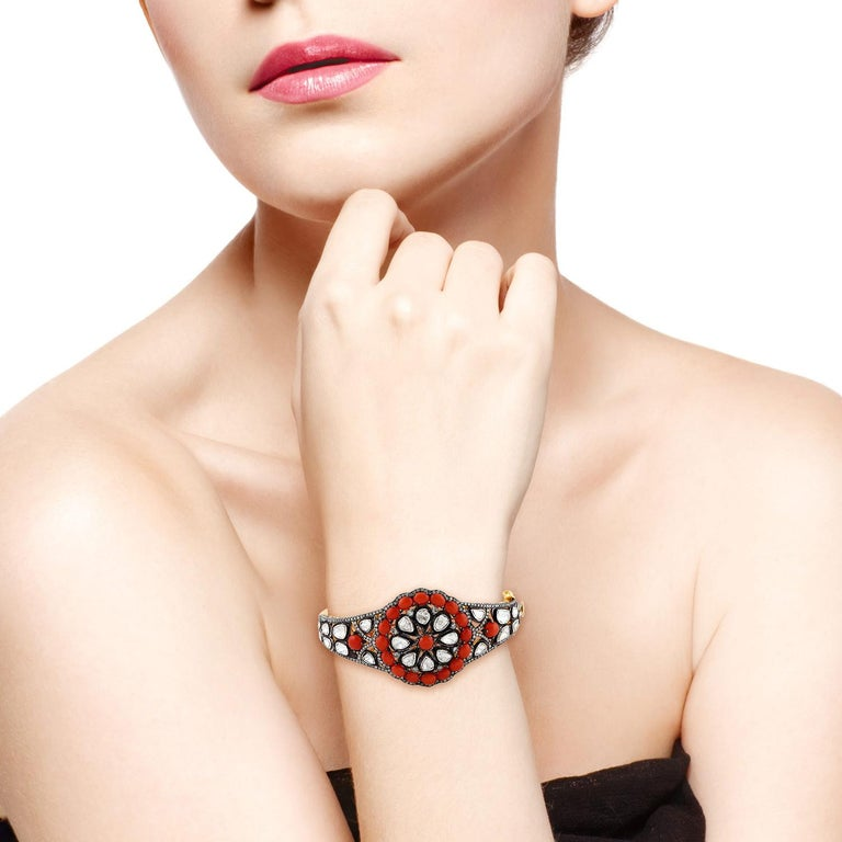 Women's Coral and Rosecut Diamond Bangle in Silver and Gold For Sale
