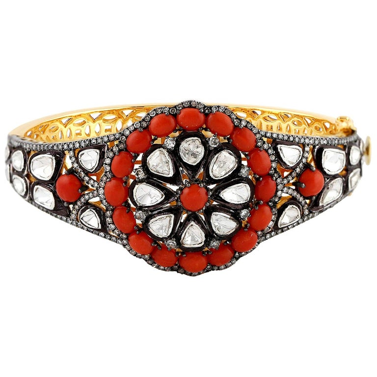Coral and Rosecut Diamond Bangle in Silver and Gold For Sale