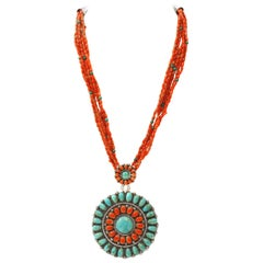 Coral and Turquoise Necklace with Fabulous Medallion