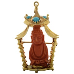 Coral and Turquoise Yellow Gold Buddha Brooch Pin Pendant