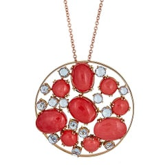 Coral and White Sapphire 18 Karat Gold Zydo Necklace