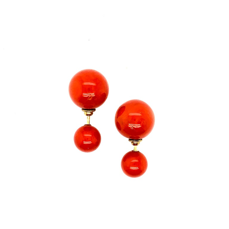 This lovely and so rich shade of coral earring says it all, this tribal ball earring is a beauty.  Closure: Push on  18K: 1.95gms Coral: 53.56cts