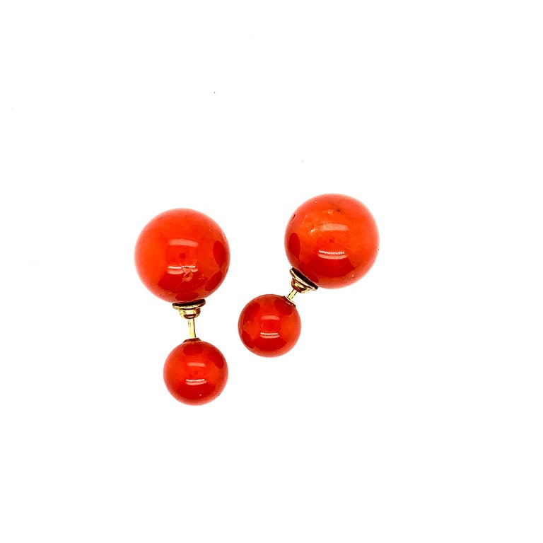 Modern Coral Ball Earrings For Sale