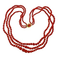 Coral Bead Gold Multi Strand Necklace