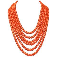 Coral Bead Necklace 469 Beads Gold 14 Carat Vienna Austria Made, circa 1950