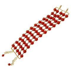 Coral Beaded Bracelet, 18 Karat Yellow Gold