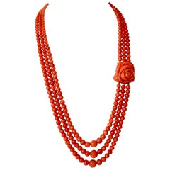 Coral Beads Long Necklace 3 Rows and Rose Coral Clasp and 18 Carat Gold