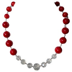 Coral Beads with Vintage Chandelier Crystals in a Sterling Silver Necklace
