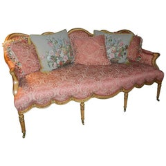 Coral/Beige Silk Damask Eight Reeded Leg Sofa, 20th Century