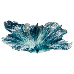 Coral Bowl in Aqua, a Unique Grey and Clear Glass Centrepiece by Wayne Charmer