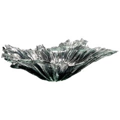 Coral Bowl in Grey, a Unique Grey and Clear Glass Centrepiece by Wayne Charmer