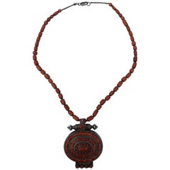 Coral Box Pendant with Coral Necklace