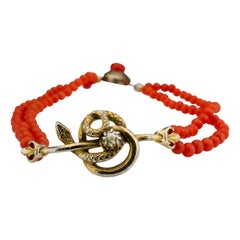 Coral Bracelet Victorian with Serpent and Natural Pearl