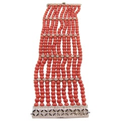 Coral Bracelet with Diamonds