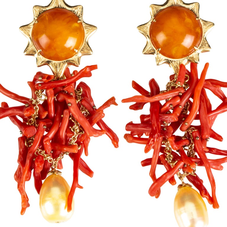 Italian Coral branch earrings, amazing antique baltic amber, gold natural pearl, yellow gold gr 15,30.Total length 8cm. All Giulia Colussi jewelry is new and has never been previously owned or worn. Each item will arrive at your door beautifully