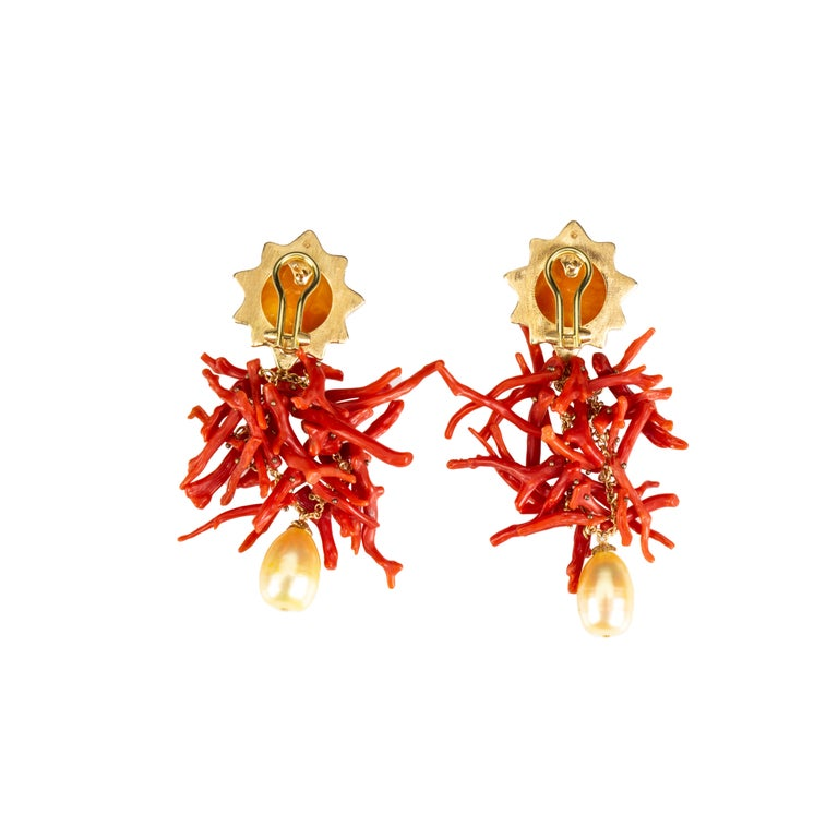 Artisan Coral Branch Earring Baltic Amber 18k Gold Gold Perl For Sale