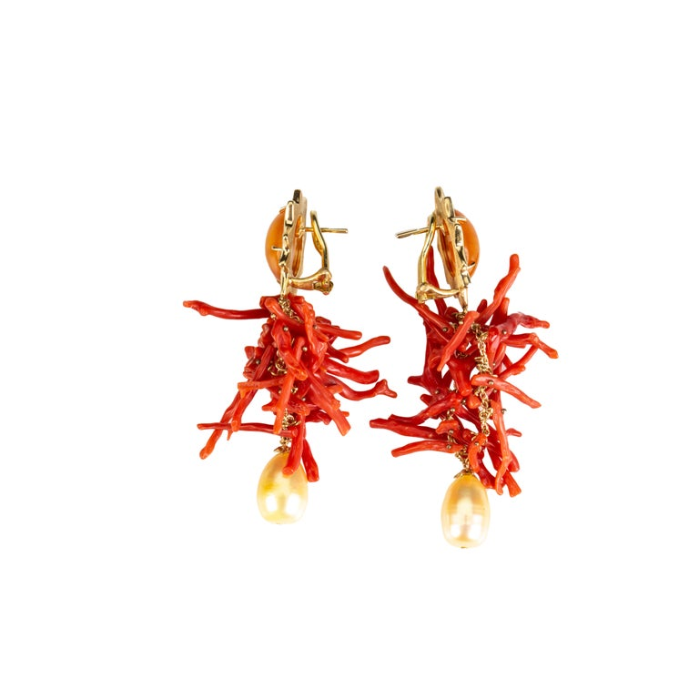Mixed Cut Coral Branch Earring Baltic Amber 18k Gold Gold Perl For Sale