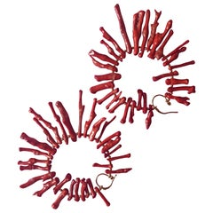 Coral Branch Fringe Coral Earrings 18 Karat Gold